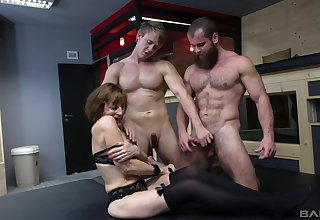 Handsome bisexual dudes love having group sex give attractive Dana