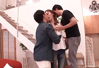Attracting Japanese girlfriend MIYABI fucked by two lucky dudes