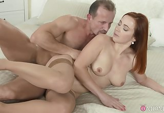 Redhead cutie Bibi Fox takes a giant cock immigrant behind and moans