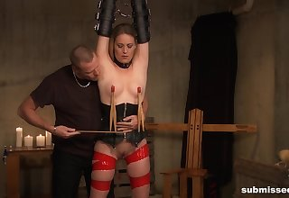Submissive blonde gets clamped and roughly fucked