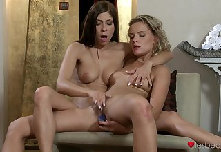 Horny lesbo model Adrianna licked by her handsome best friend