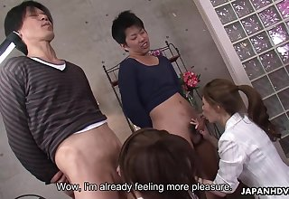 Two cock starved Japanese chicks putting some practice into pleasuring men