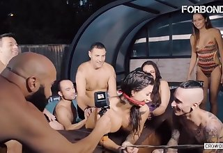 Gagged Spanish Brunette Susy Gala Rides Hard Blarney In Fix it BDSM Sex in the Pool