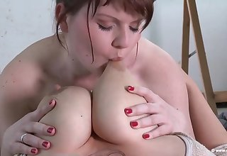 Marie and Steffi sucking nipples - drag queen sex connected with euro brunettes - monster tits