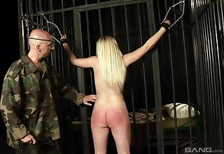Beauteous slave cooky Angel Brio tied up and spanked by a a dirty guy