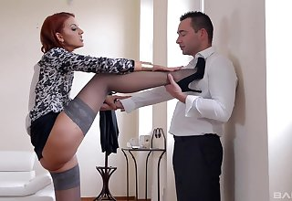 Adorable bestowal spliced chick Anissa Kate gives a footjob to her lover