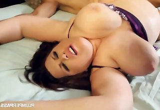 Brunette fatty BBW with big ass and chubby belle gets cumshot