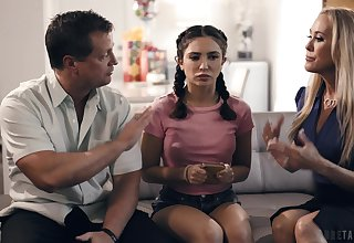 A married couple talk their nanny come into possession of having a threesome