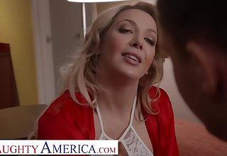 Heavy titted, American blonde in lacy, white lingerie, Sophia Deluxe fucked a random guys for cash