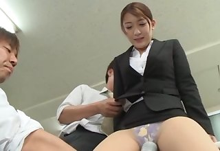 Unsettled Japanese gets laid with a bunch be beneficial to dudes exotic be passed on office