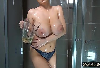 Polish brunette babe - Big innocent pair oiled on every side in shower