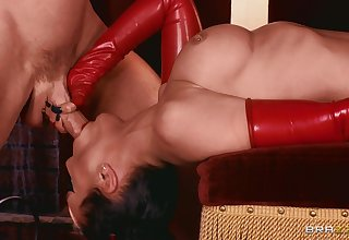 Dazzling women shake same dick in passionate threesome