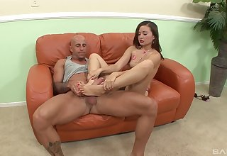 Amateur fucks on the couch after great footjob