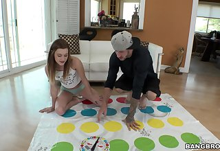 Skinny girl Alaina Dawson drops her clothes while carrying-on Twister amusement