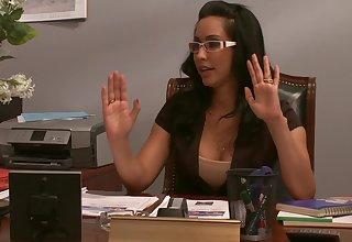 Slutty secretary gets cum on tits after a blowjob - Isis Adore