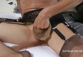 Clit gets serious nylon action