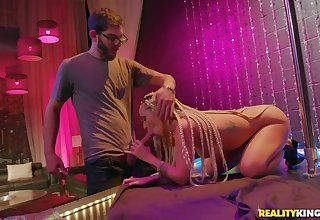 Stripper slut fucked on stage by a big cock guy