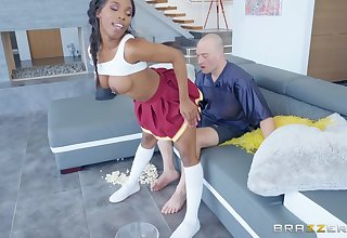 Perfidious cheerleader Sarah Banks fucked and cum covered by a white coxcomb