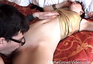 Hardcore doggy fuck up against the wall with a nerdy redhead pet