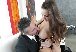 Astounding curvy sexpot Abigail Mac blows load of shit and impresses dude hither outing