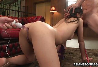 Three hot blooded Asian dudes leman all holes of Japanese shrew Mika Shindo