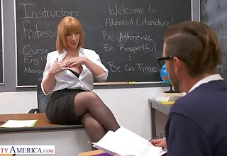 Lewd and rapacious MILFie tutor Sara Jay lures trestle to be fucked well