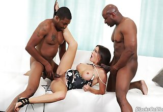 Crazy threesome be advantageous to the busty milf with two black thugs