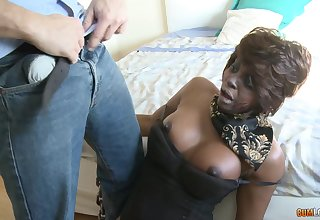Ebony mature prefers blowing in front she jumps above a hard cock