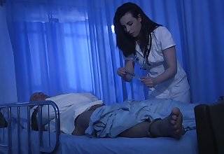 Ardent brunette nurse Casey Calvert bows plus sucks strong cock infertile