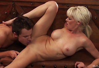 Milf leaves step son to hard fuck her in both holes