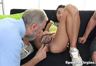 Old gynecologist is watching sex-mad dude fucking 19 yo virgin girlfriend Kelli Lox