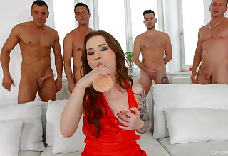 Several big dicks upset pussy and deep throat be incumbent on nasty hooker Monika Wild