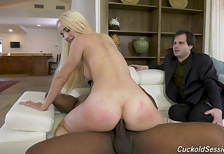 First time hubby watches his wife riding BBC with her ass