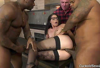 Cuckold husband watches Avi Fancy possessions fucked by two BBCs