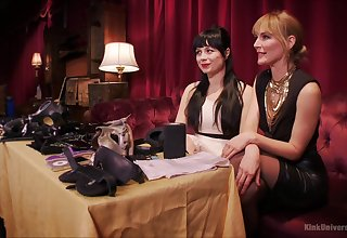 Elegant babes Siouxsie Q and Mona Wales playing with BDSM equipment