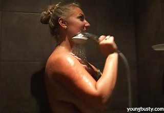 Big fat tits fair-haired wife Krystal takes a shower and masturbates