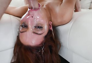 Redhead feels entire load on her face corroboration she roughly sucks make an issue of locate