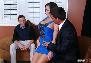 Cuckold husband watches his tie the knot Jenna as she rides her boss