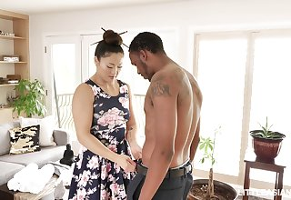 Kinky Asian masseuse Nyomi Star gives black beam oily footjob