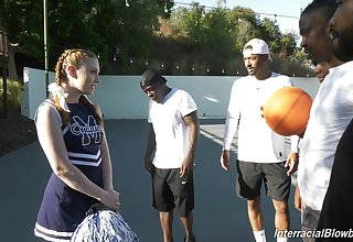 Clouded basketball team is face fucking white cheerleader Arietta Adams
