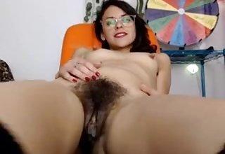 hairy beauty masturbates 5