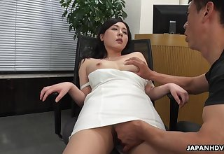 A beautiful HR clerk interviews a supplicant then gives him full access to her pussy