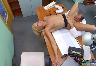 Skinny blonde patient Joana Washed out examined with a doctor's dig up