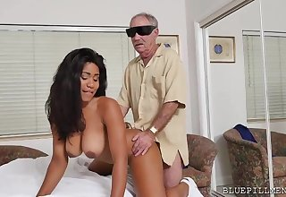 Darkhaired Babe Jenna Foxx hardcore action in old guy